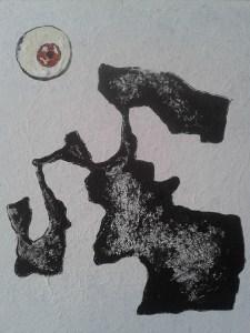 """Mörk kontinent"", akryl på duk, 32x42 cm, 600:-"